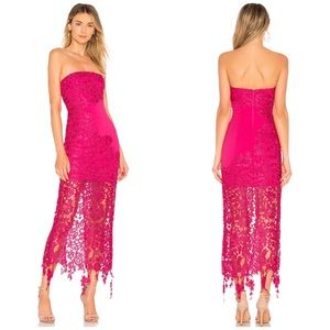 NWT Lovers + Friends Revolve Franz Pink Lace Gown